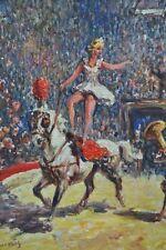 Tableau Cirque Spectacle Equestre Femme Cheval peinture signée Gena Pechaubes
