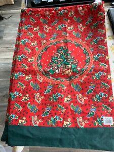 New Red Polycotton Santa Drawstring Sack showing lots of Vintage Toys