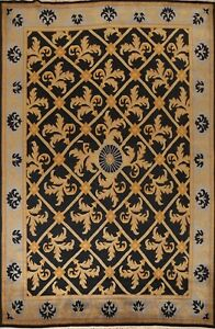 Geometric Nepalese Oriental Area Rug Hand-knotted Transitional Dining Room 9x12