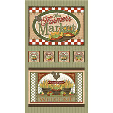 "Farm Vegetables Rooster Green Cotton Fabric QT Farmer's Market 24""X44"" Panel"