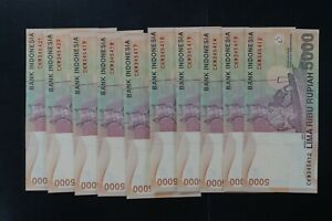 Indonesia 2001 Rp5000 note in ch-UNC/gem-UNC CKW prefix (10 notes) (v379)