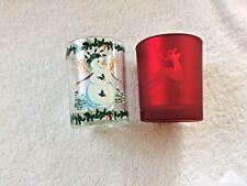 2 Christmas Votive Candle Holders: Red Reindeer & Snowman Slatkin & White Barn