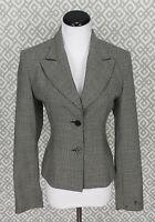 Womens Neiman Marcus Exclusive Button Front Black Wool Blazer Suit Jacket Sz 10