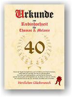 Rubinhochzeit Urkunde zum 40. Hochzeitstag Geschenkidee Rubin Hochzeit NEU