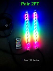 JHB Pair 2FT Spiral Wrapped Bluetooth CHASING Twisted Antenna LED Whips Lights