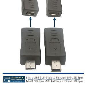 Mini USB Male to Micro 5pin Female & Mini Female to Micro Male Extension Adapter