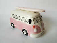 VW CAMPER VAN Ceramic Money Box With Surf Board & Stopper EXCELLENT CONDITION