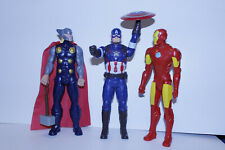 """3 Marvel Avengers Heroes Talking Captain America, Ironman, Thor, 12"""" Tall Action"""