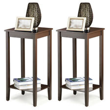 Set of 2 Tall End Table Coffee Stand Night Side Accent Furniture Espresso