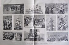 """1880 ANTIQUE PRINT -LIFE ON BOARD TRAINING SHIP """"ST VINCENT"""""""