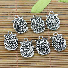 10pcs tibetan sivler color 2sided owl design charms EF2285
