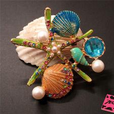 Betsey Johnson Charm Brooch Pin Gift New Green Enamel Starfish Shell Crystal