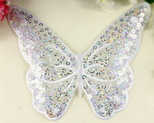 Extra large Butterfly  patches sequin applique patch motif iron on sew on White