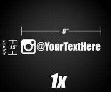 "1x Instagram name / username Vinyl Decal Sticker 8"" x 1.5"" Multiple fonts Avail."