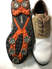Footjoy GreenJoys White Tan Saddle Oxford Golf Shoes Soft Spike Men 9.5 M #45446