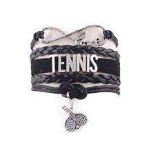 Charm Tennis Racket Bracelet Sport Hobby Mens Womens Jewelry Infinity Black Love