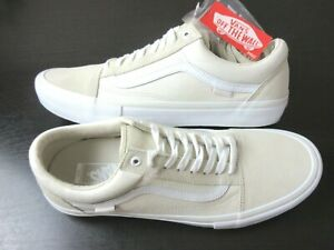 Vans Mens Old Skool Pro Marshmallow White Canvas Suede Skate Shoes Size 12 NEW