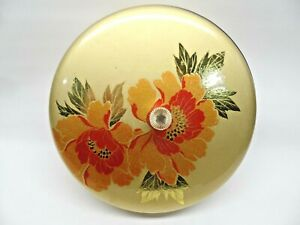 """VTG Oriental Round Box Container Gold with Red Flowers 4"""" T x 7"""" DIA Tres Chic"""