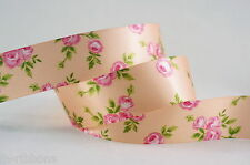25mm Rose Printed Single Face Satin Ribbon--5yds