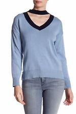 NWT $75 Topshop Choker Contrast V-neck Jumper Sweater blue US 6 UK 10