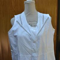 blouse de travail femme 1950 blanc sans manche boulangerie T 46 vintage