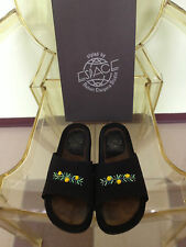 Women's Black Espace Robert Clergerie Slides w/Yellow Seed Bead Detail Size 8B