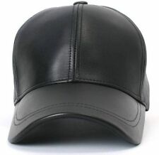 Unisex Black Leather Baseball Stylish Cap For Men And Women