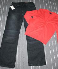 C&A H&M Schickes Lässiges Mädchen Set Kombi XS Jeans Schwarz Strick Jacke Rot 96