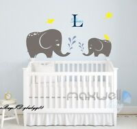 2 Elephant Wall Sticker Vinyl Decals Kids Nursery Baby Decor Personalised Name