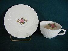 Spode Bridal Rose Cup and Saucer Set Plain Trim