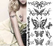 Supperb Temporary Tattoos  - Black Tribal Butterflies Elegant Temporary Tattoo