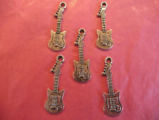 Tibetan Silver Electric Guitar Charms 5 per pack