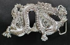 DRAGON FIRE FLAME BREATHING SOLID BRASS CHROME PLATED BARON BELT BUCKLE 1981