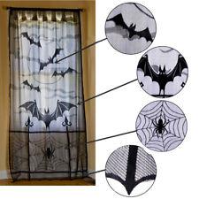 Halloween Bats Spiders Web Curtains Cobweb Black Lace Festival Window Door Decor