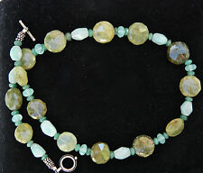 Designer Green Aventurine & Blue Quartz Sterling Silver Necklace 18.5""