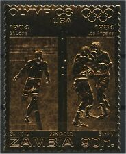 ZAMBIA, GOLD FOIL STAMPS OLYMPICS, Sprinting and Boxing Olympic Games, Los Angel