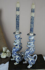 PAIR 1930  Delft pottery marked Dragon gothic  candle holders rare special pcs
