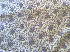 "5 YDS X 36"" Vintage 100% QUALITY COTTON FLANNEL FABRIC Purple Flowers On White"