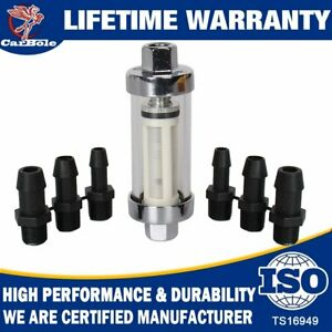 9706 Clearview Inline Fuel Filter W/Glass Body 1/4'' 5/16'' 3/8'' Fittings Hoses