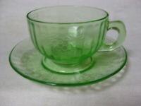 6 Green Green Depression Glass Fruits Cups & Saucers Vaseline Gr