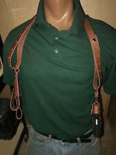 Tanned Leather Shoulder Holster & 2 Magazine Pouch Horizontal Fits Glock 19 & 23