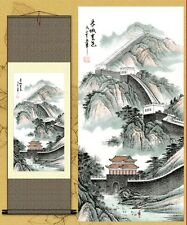 Chinese Silk Scroll Painting Landscapes Tree Great Wall River Home Decoration