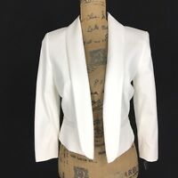 NEW Tahari Levine 6 Med M Blazer White Crop 3/4 Sl 2 Pocket Lapel Trendy Jacket