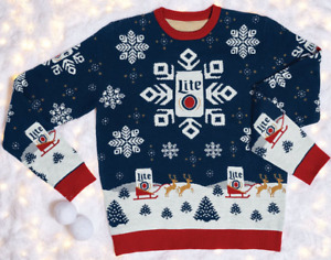 Miller Lite Ugly Christmas Sweater Holiday Xmas Mens Womens Unisex Size Large