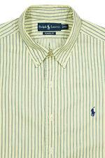 Mens RALPH LAUREN Long Sleeve Shirt XL Pale Yellow Green White Striped MINT!