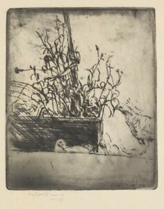 Allen Lewis 1st State Etching Birds & Basket Of Plants Signed & Titled In Pencil