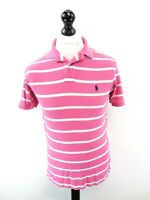 RALPH LAUREN Mens Polo Shirt S Small Pink White Stripes Cotton Custom Fit