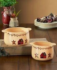 Primitive Country Bakeware Dishes with Handles Stars Berries Simplify Bowls Set