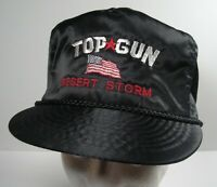 Vintage Top Gun Desert Storm Black Nylon Zipper Back Trucker Cap Hat Otto