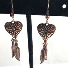 Dangle Copper Earrings Feathers and Heart Southwest Fishhook Stamped